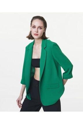İpekyol Kadın Yeşil Truvakar Kol Ceket