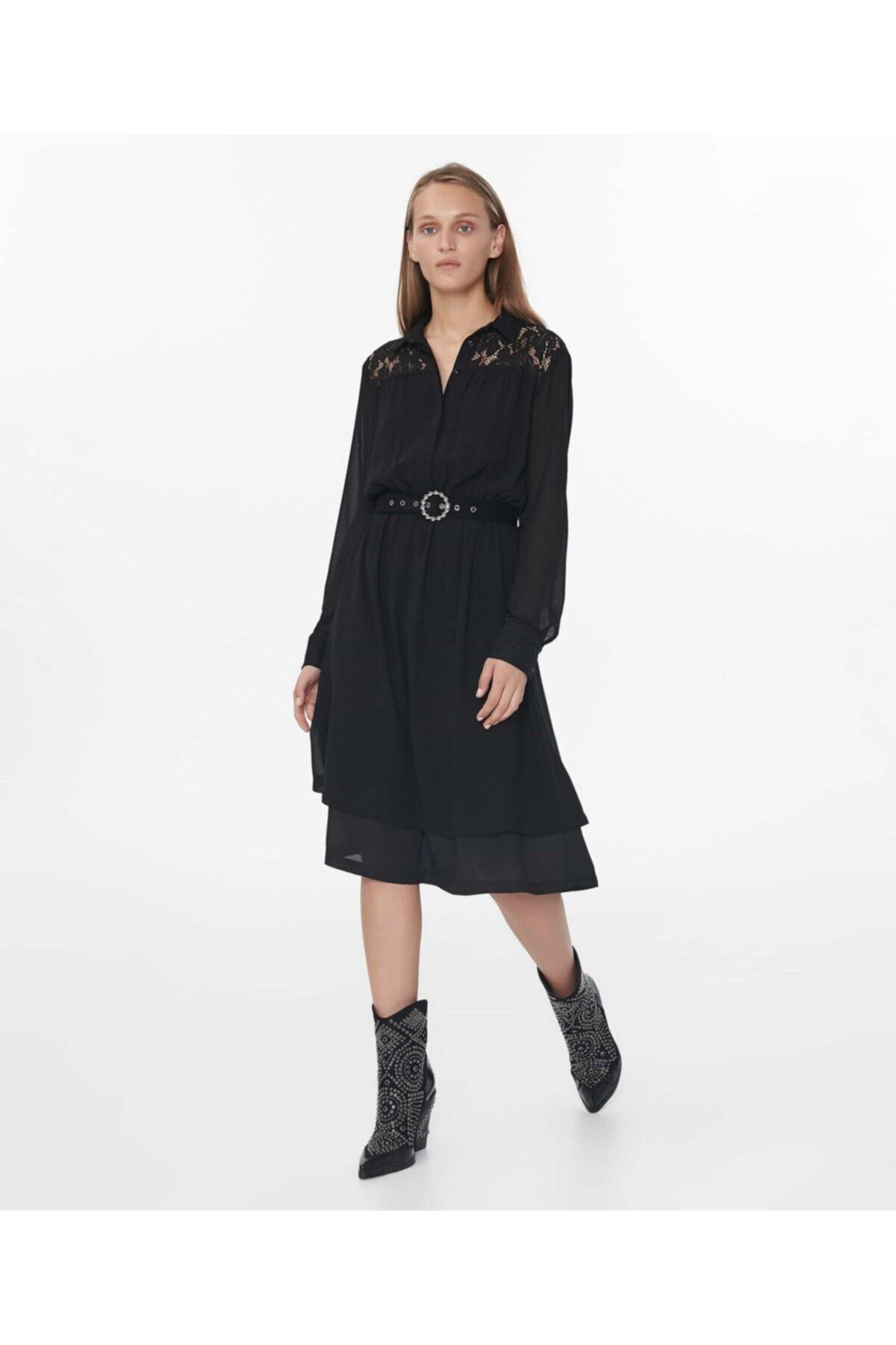 İpekyol Kadın Siyah Dantel Mix Elbise 1
