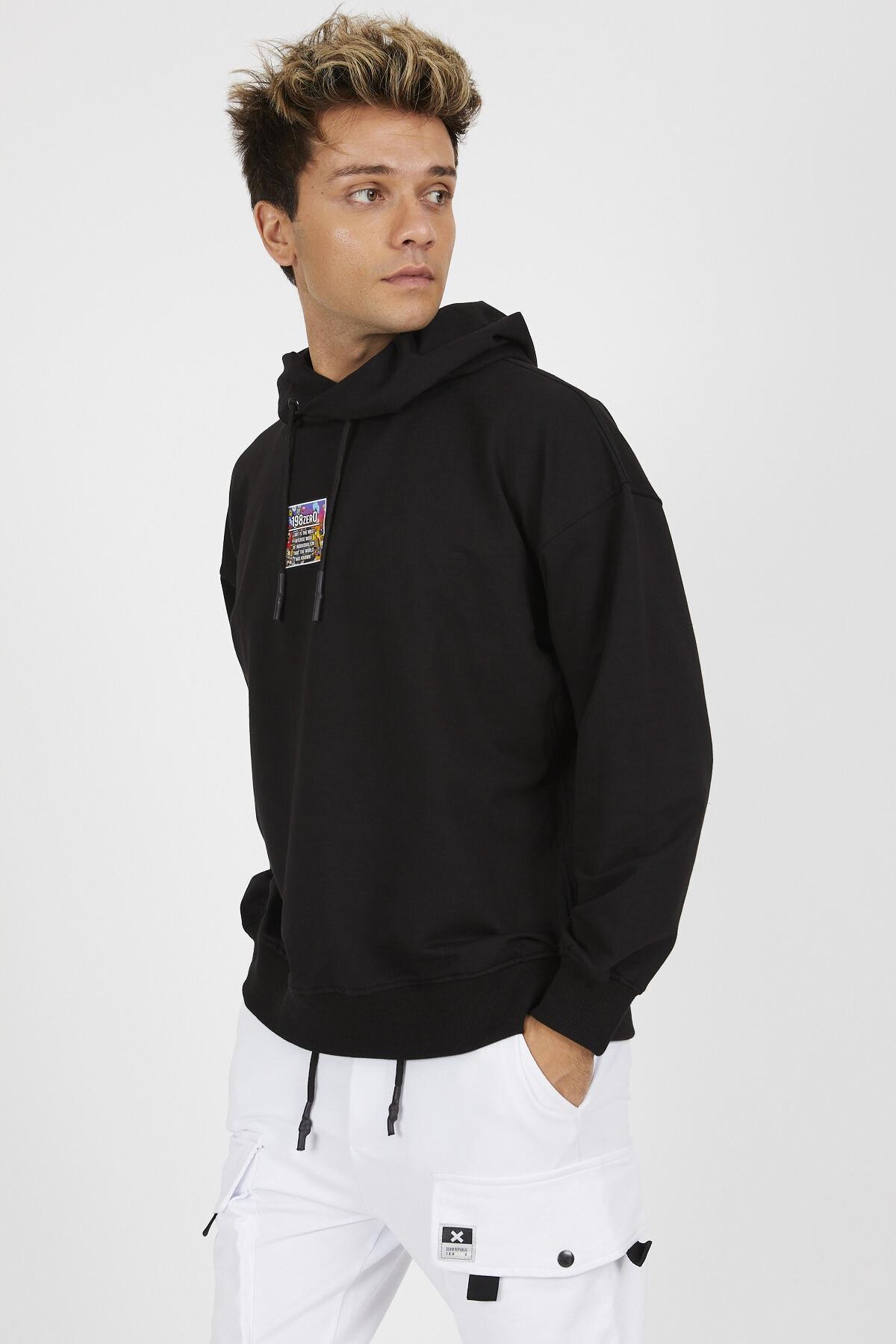 Denim Republic Erkek Siyah Baskılı Kapüşonlu Oversize Sweatshirt 2