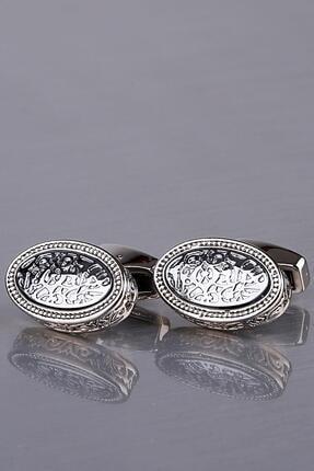 Kravatkolik Erkek Gümüş Renk Elips Kol Düğmesi Kd1166