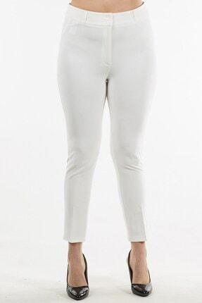Womenice Kadın Beyaz Düz Kesim Kumaş Pantolon
