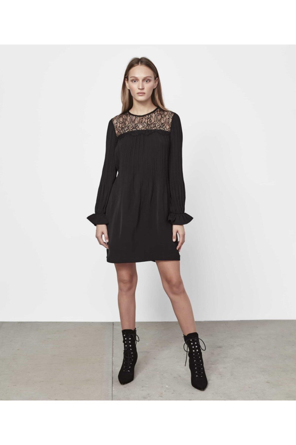 İpekyol Kadın Siyah Dantel Mix Elbise IW6190002458001 1