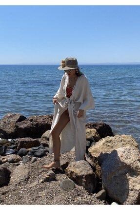 BEACHTALK Kadın Krem Keten Kumaştan Dökümlü Uzun Kimono