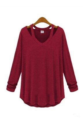 boutiquen Kadın  Bordo V Yaka Japon Style Bluz 10269 10269