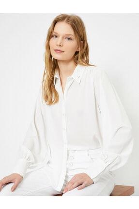 Koton Kadın Ekru Yaka Detaylı Gömlek
