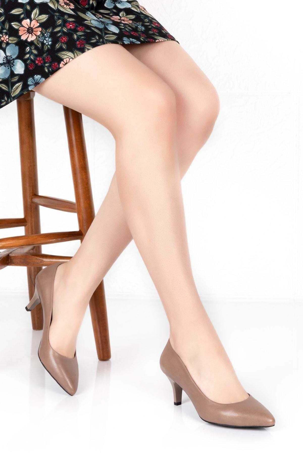 Gondol Kadın Vizon Deri Orta Topuk Stiletto vdt.23 1