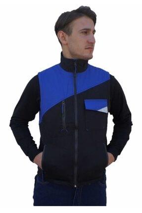 Uniprom Mercedes Iş Yeleği Harman Kumaş Kışlık Erkek Mavi - Siyah