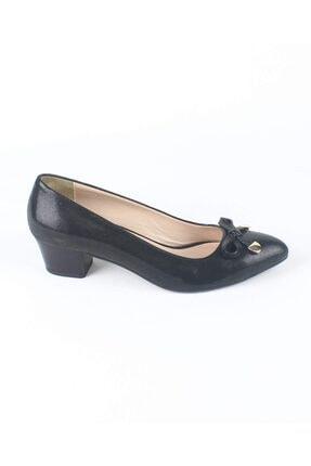 Özel Tasarım Kadın Siyah Hakiki Simli Deri Yumurta Topuk Ayakkabı