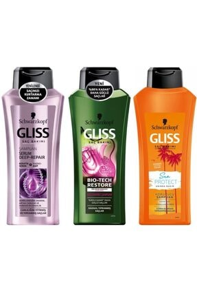 SCHWARZKOPF HAIR MASCARA Schwarzkopf Gliss Saç Bakımı Şampuan Seti 3'lü (yıpranmış Saçlar)