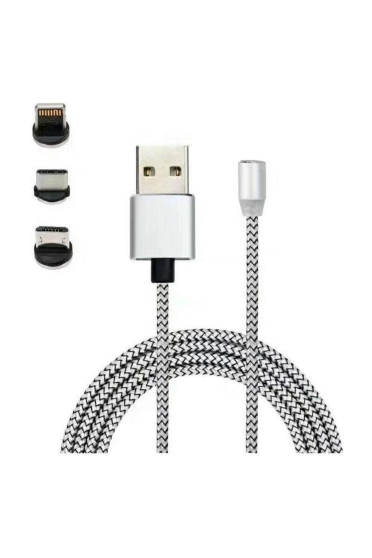 Mmctech Iphone Android Samsung Manyetik Mıknatıslı Micro Usb Type-c Uyumlu Şarj Kablosu 1