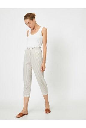 Koton Kadın Ekru Düğme Detaylı Pantolon