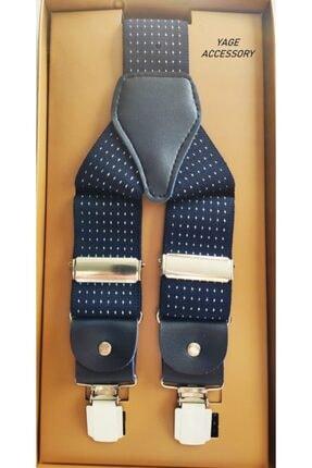 Yage Unısex Lacivert Puantiyeli Pantalon Askısı 3.5 cm