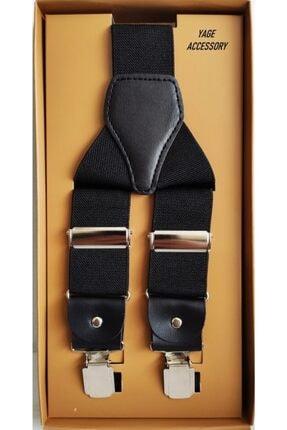 Yage Unısex Siyah Pantolon Askısı 3.5 cm