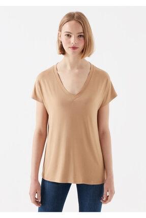 Mavi Kadın V Yaka Kahverengi Basic T-Shirt