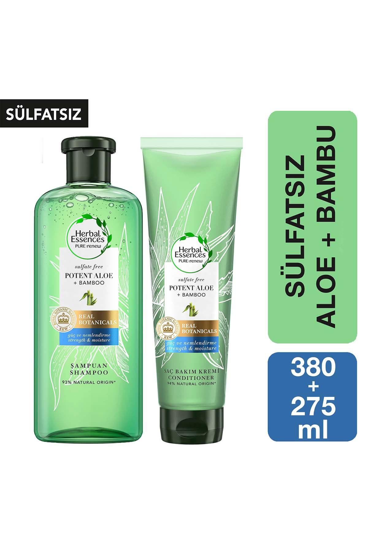 Herbal Essences Sülfatsız Güç Ve Nem Aloe + Bambu Şampuan 380 Ml + Saç Bakım Kremi 275 Ml 1