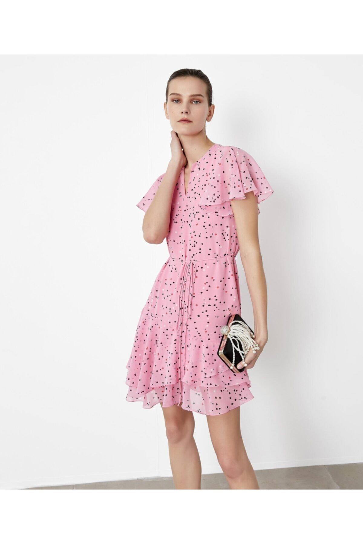 İpekyol Kadın Pembe Fırfır Şeritli Elbise IS1200002377033 1