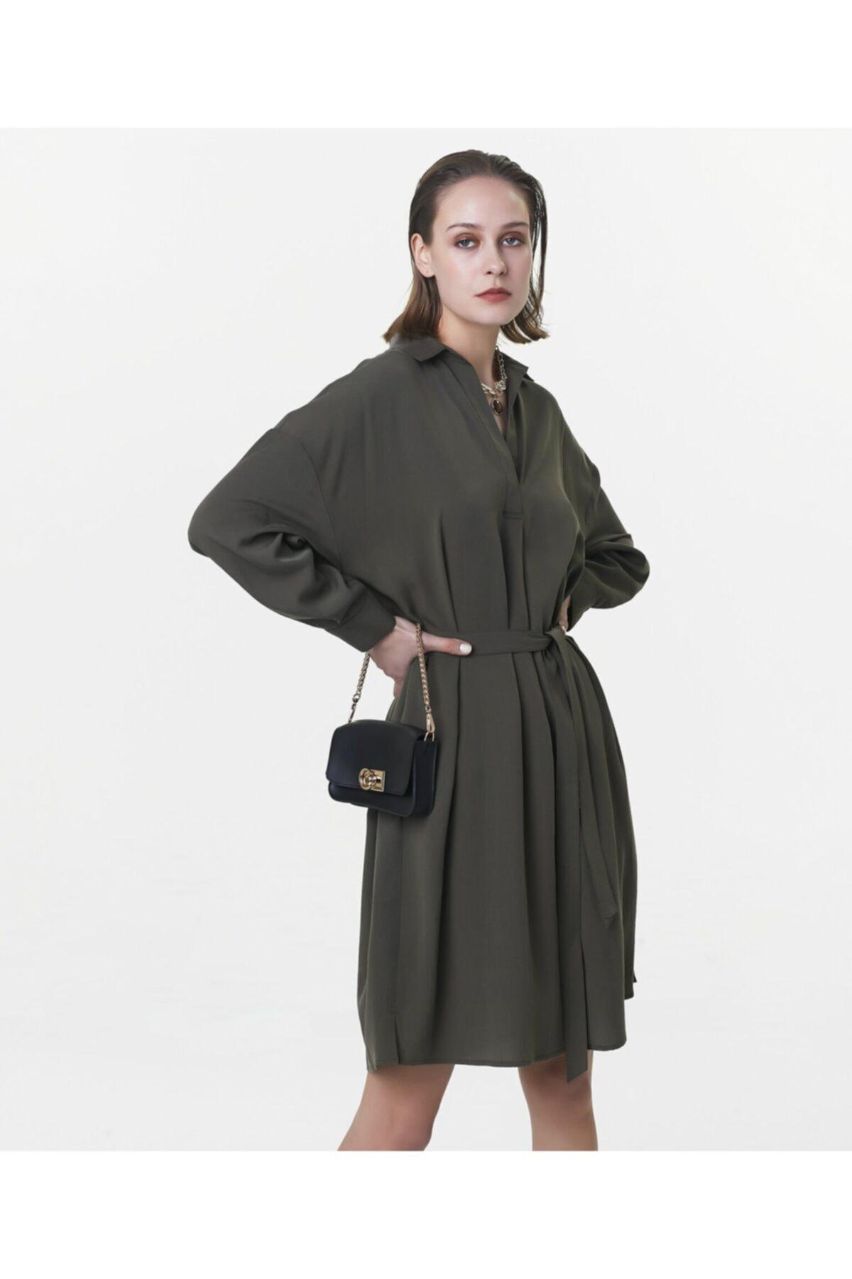 İpekyol Kadın Haki Kuşaklı Elbise 2