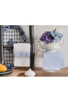 Madame Coco Aimée Mutfak Havlu Seti - Beyaz / Mavi - 40x60 Cm
