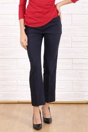 Arlin Kadın Lacivert Yüksek Bel Yırtmaçlı Paça Pantolon