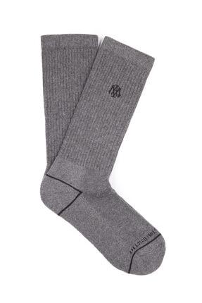 Mavi Logo Baskılı Spor Çorap