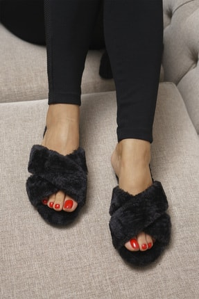 OCT Shoes Kadın Siyah Çapraz Peluş Ev Terliği
