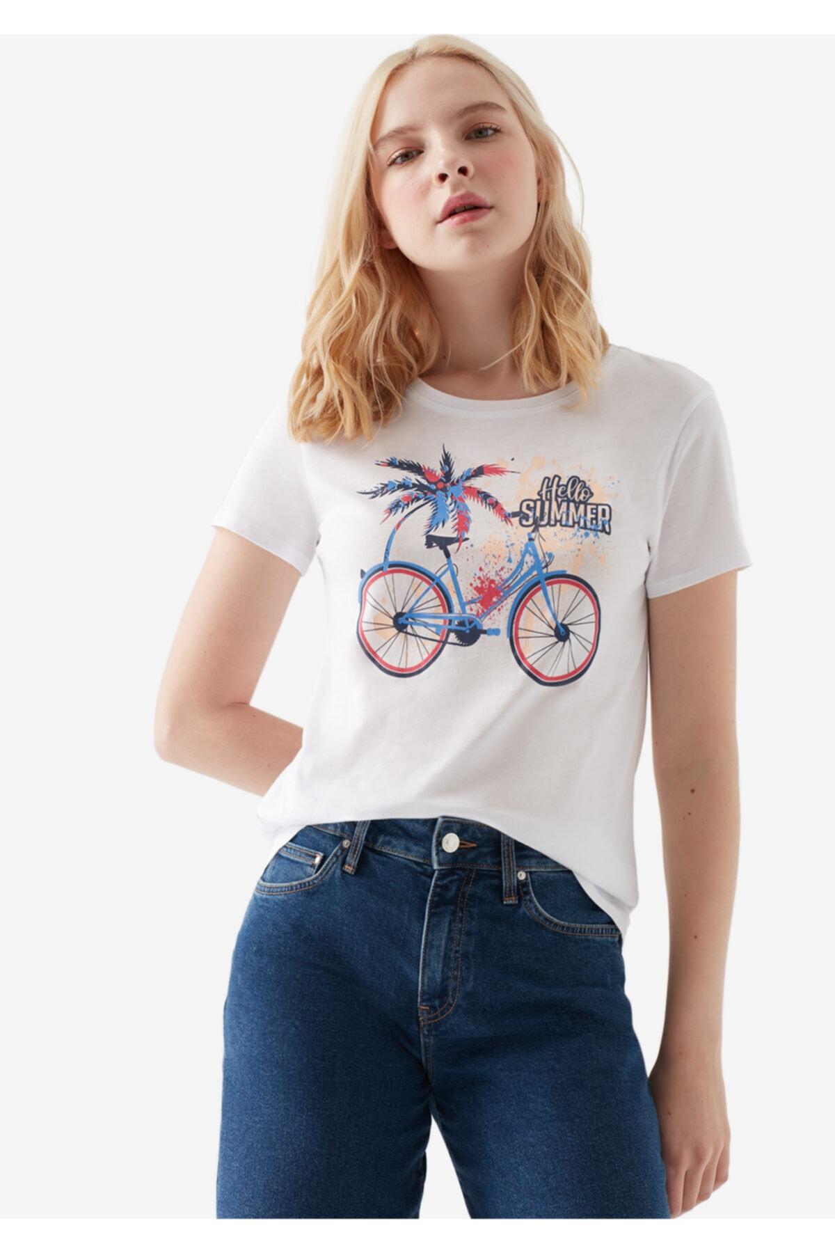 Mavi Bisiklet Baskılı Beyaz Tişört 2