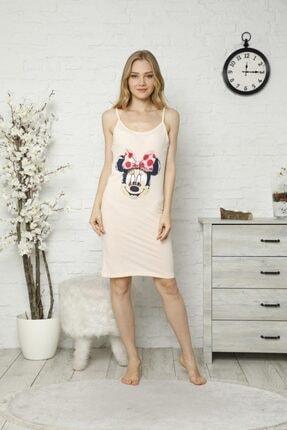 TENA MODA Kadın Pudra Ip Askılı Mickey Baskılı Gecelik Pijama