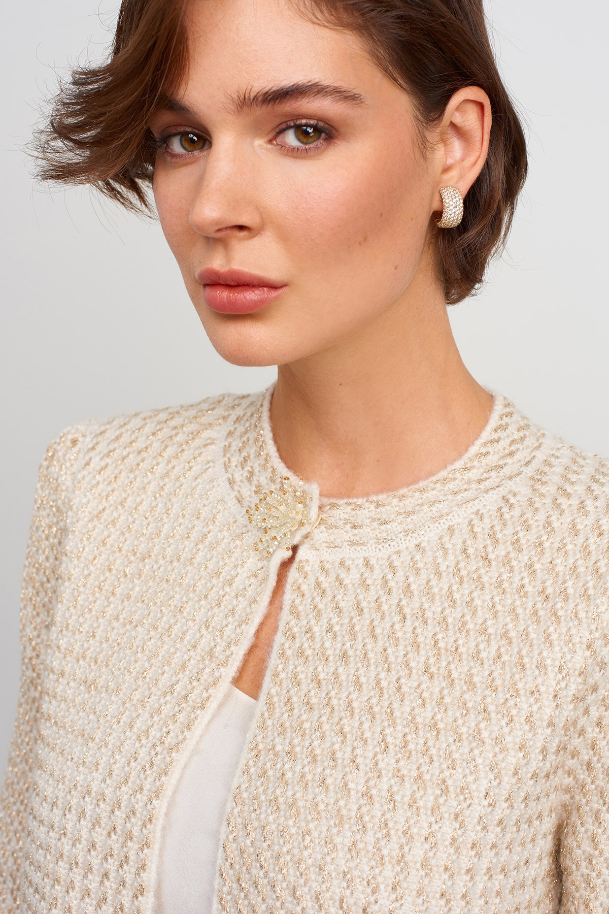 JOIN US Kadın Ekru Broş Detaylı Simli Triko Ceket 2