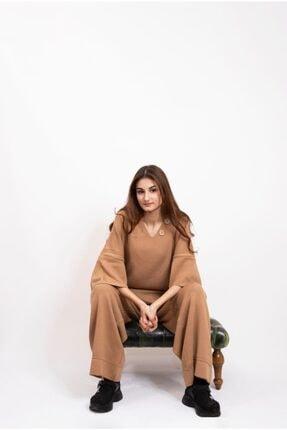 Nisan Triko Kadın Triko Salaş Camel Takım