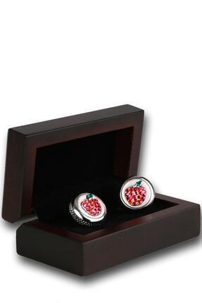 Kravatkolik Erkek Gümüş Renk Kırmızı Taşlı Kol Düğmesi Kd1201
