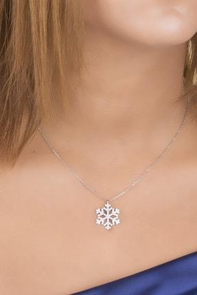 Diversity Jewelry Kadın Gümüş Zirkon Taşlı Kar Tanesi Kolye