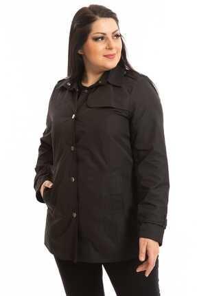 Hanezza Kadın Siyah Ceket Tarzı Trençkot