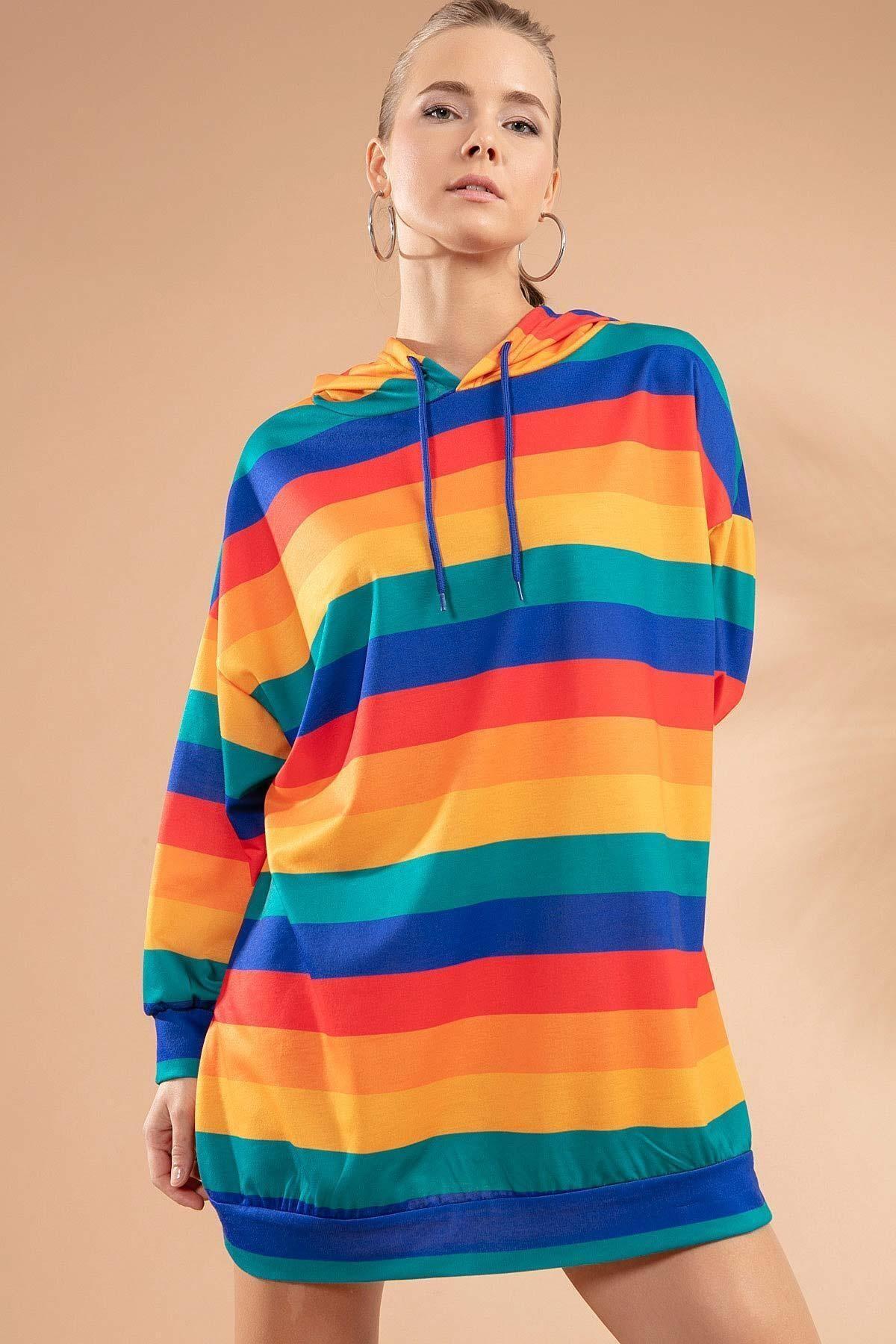 Pattaya Kadın Renk Bloklu Kapşonlu Sweatshirt Elbise Y20w110-4125-10 2