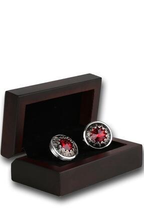 Kravatkolik Erkek Gümüş Renk Kırmızı Taşlı Kol Düğmesi Kd1203