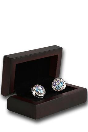 Kravatkolik Erkek Gümüş Renk Mavi Lila Taşlı Kol Düğmesi Kd1241