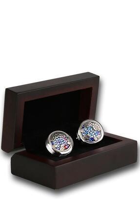 Kravatkolik Erkek Gümüş Renk Mor Taşlı Kol Düğmesi Kd1236
