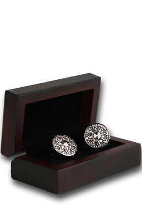 Kravatkolik Erkek Gümüş Renk Füme Taşlı Kol Düğmesi Kd1197