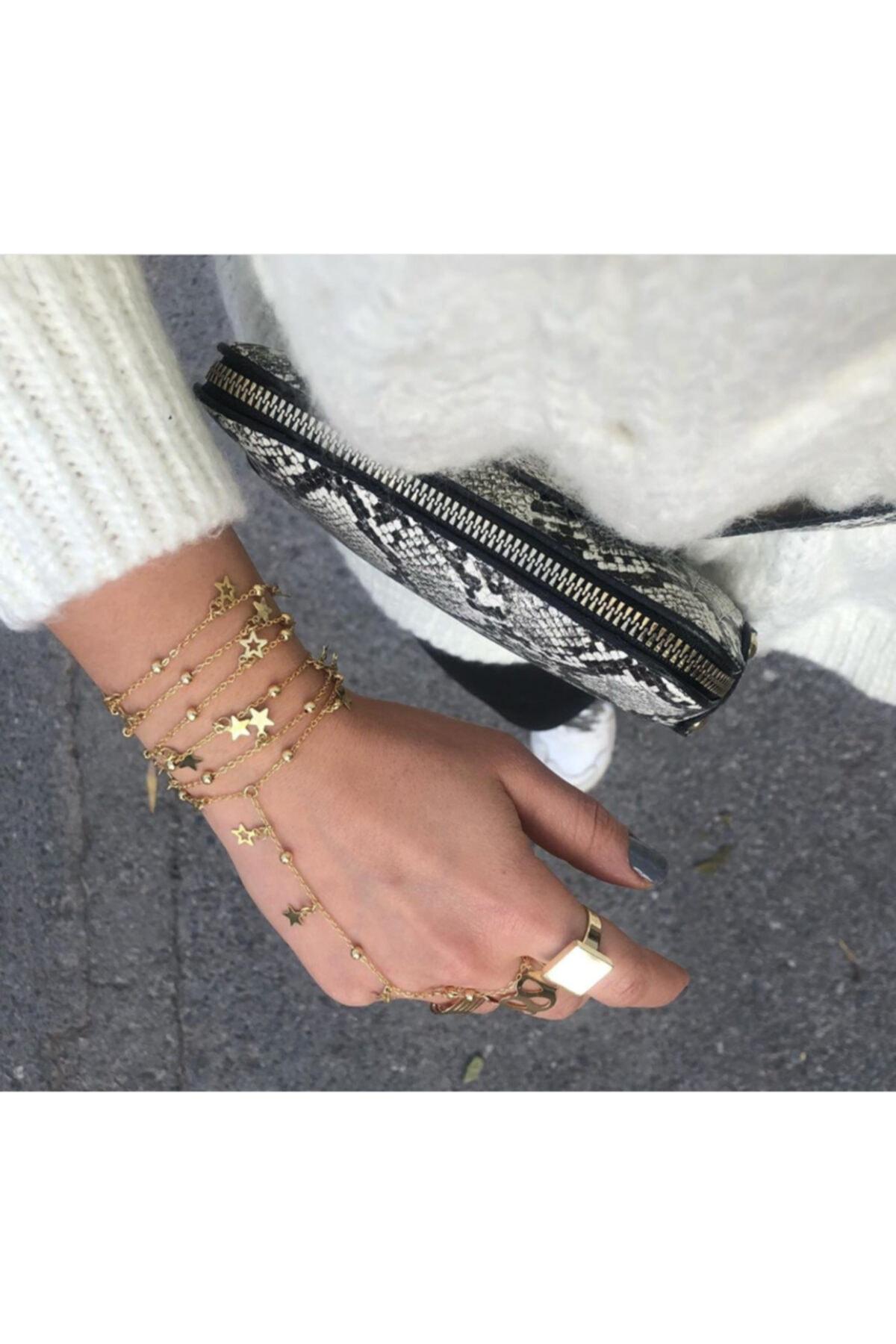 pop up store Kadın Gold Yıldız Detay Dolama Zincir El Aksesuarı 1