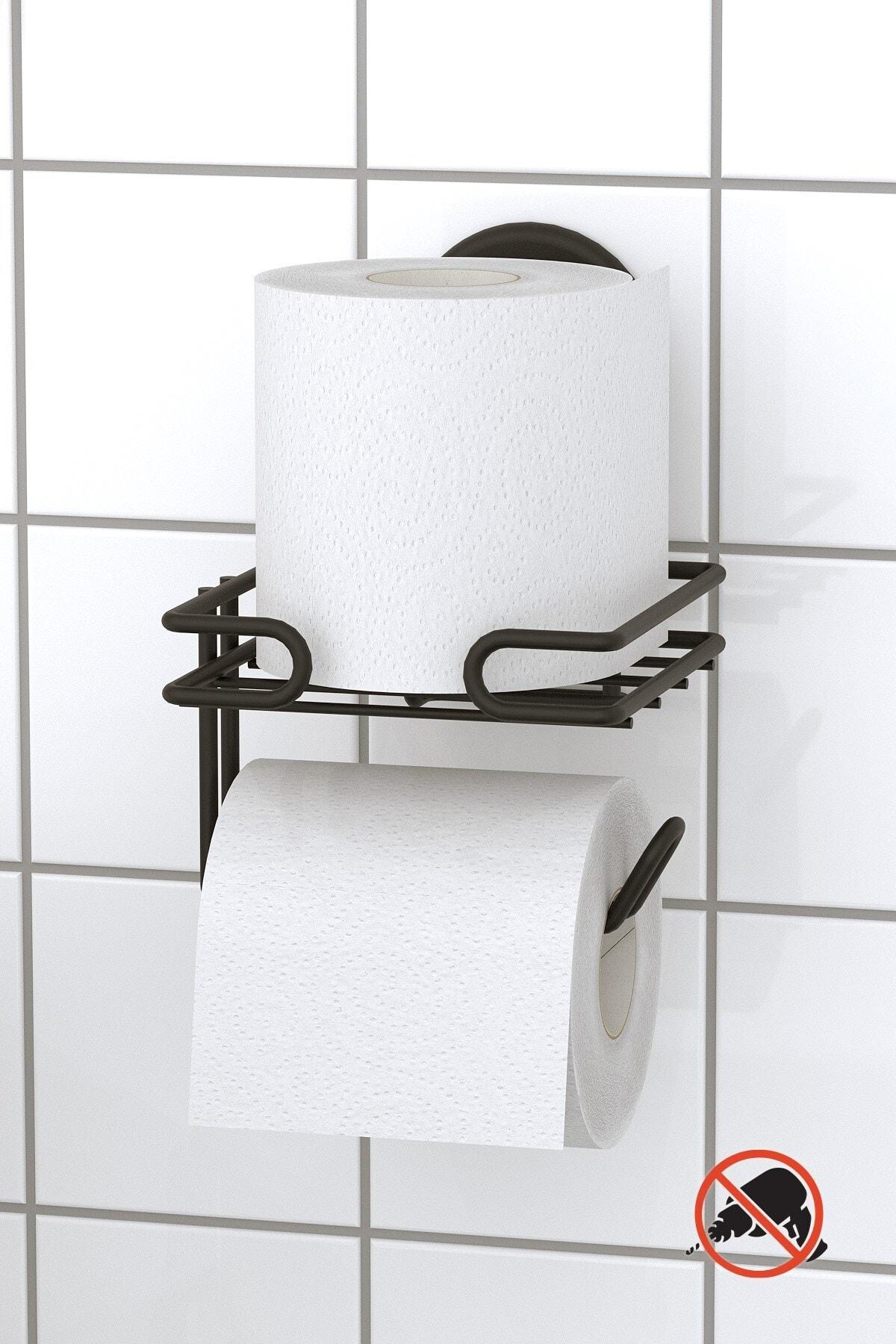 Teknotel Mat Siyah Vakumlu Yedekli Tuvalet Kağıtlık Dm275 2