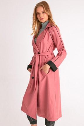 Fulla Moda Kadın Pembe Klasik Kemerli Trençkot