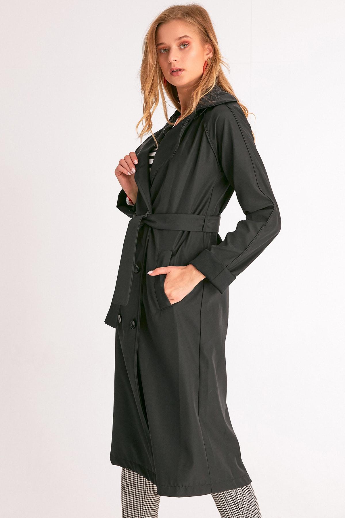 Fulla Moda Kadın Siyah Klasik Kemerli Trençkot 2