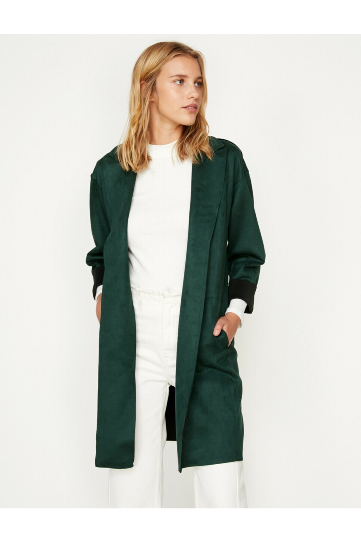 Koton Kadın  Yeşil Süet Görünümlü Trençkot 1
