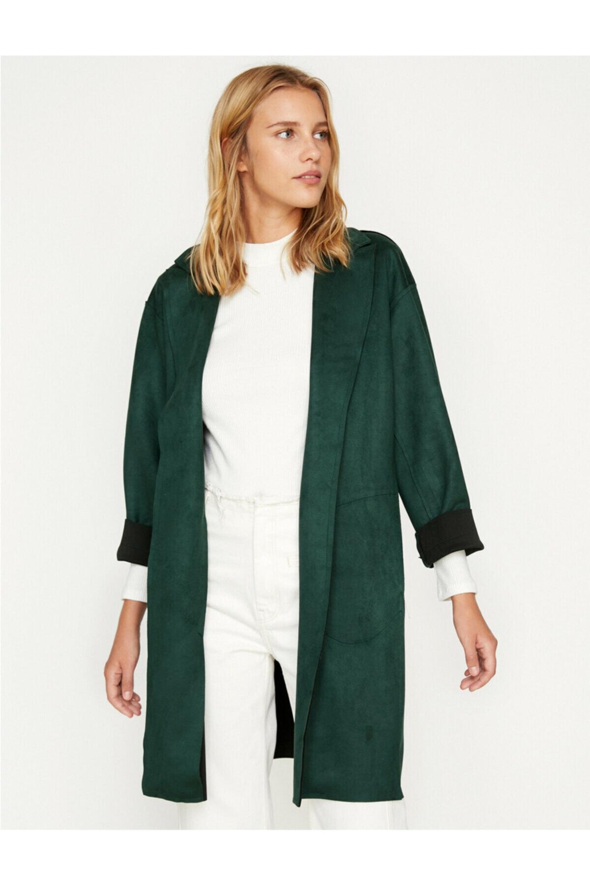 Koton Kadın  Yeşil Süet Görünümlü Trençkot 2