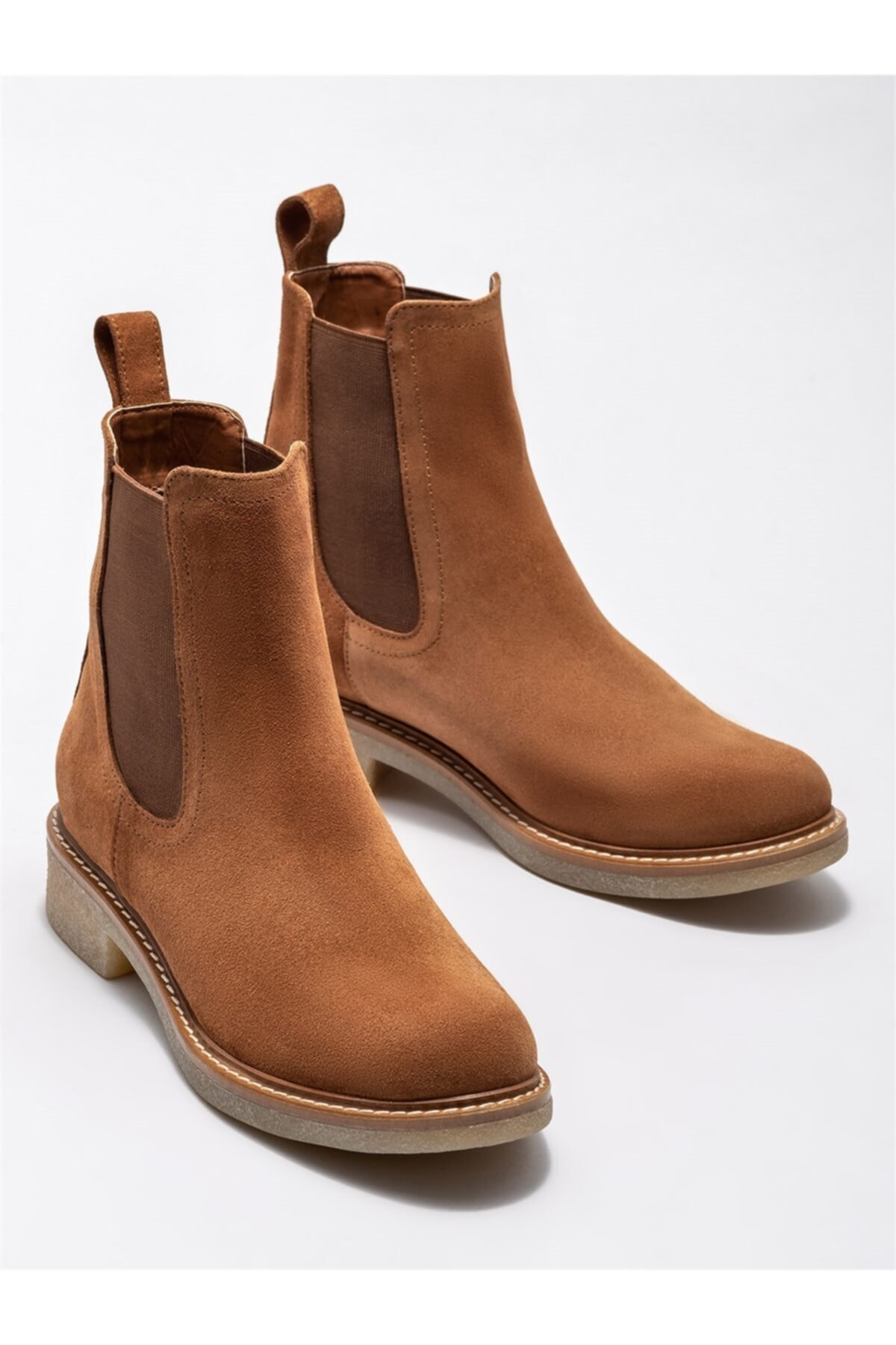 Elle Shoes Taba Deri Kadın Günlük Düz Bot 2