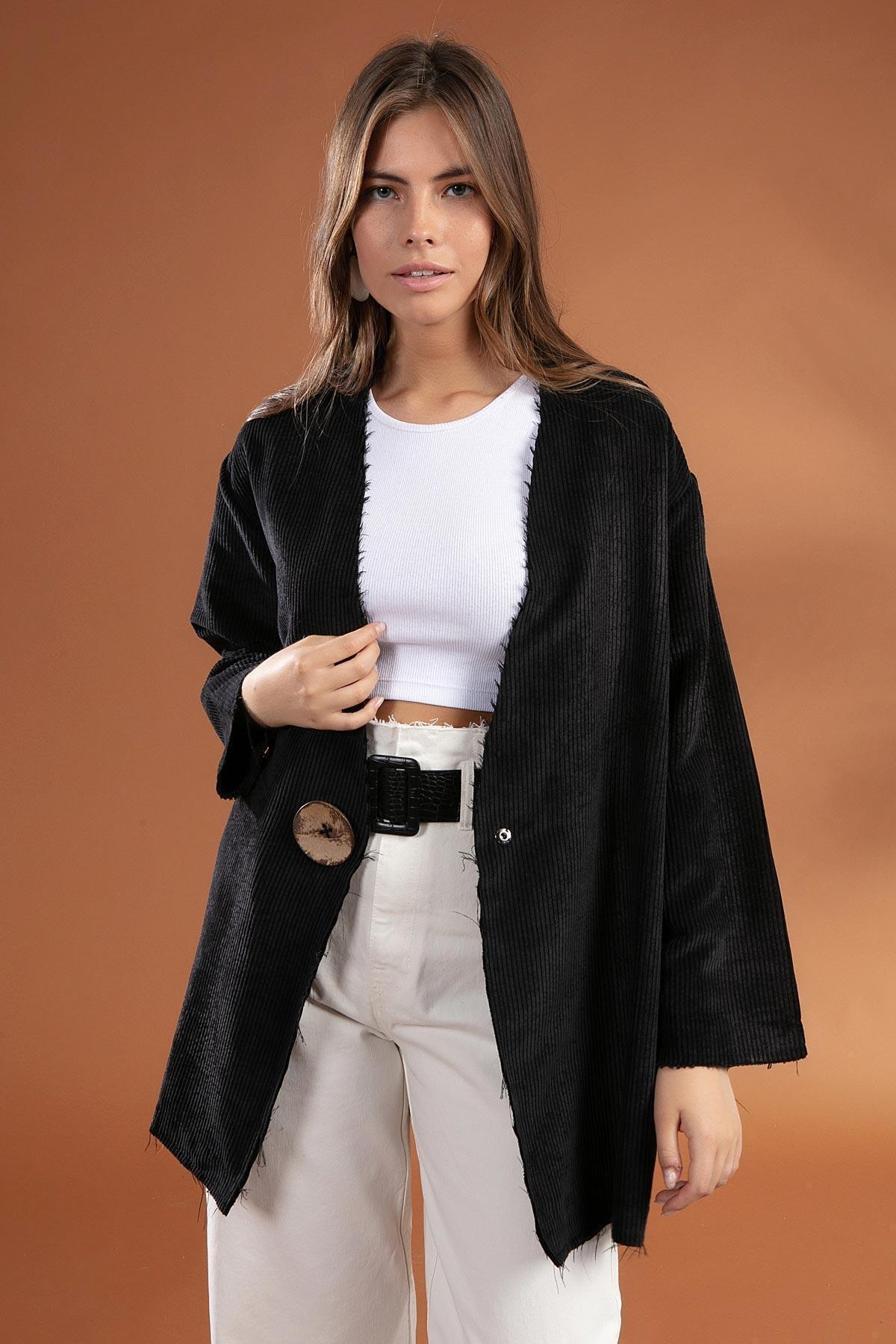 Y-London Kadın Siyah Düğme Detaylı Fitilli Kadife Ceket 38069 1