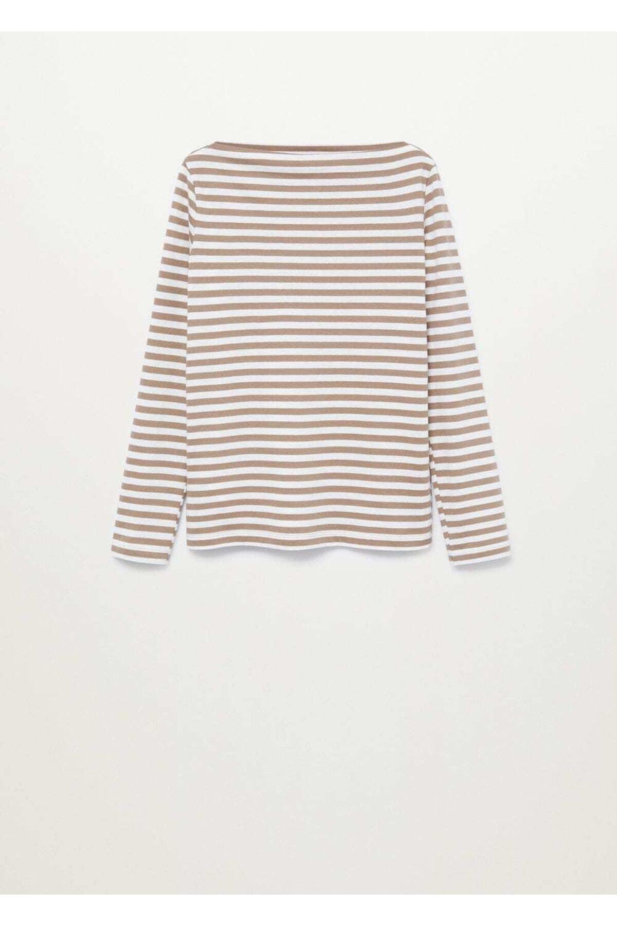 MANGO Woman Uzun Kollu Pamuklu Tişört 1