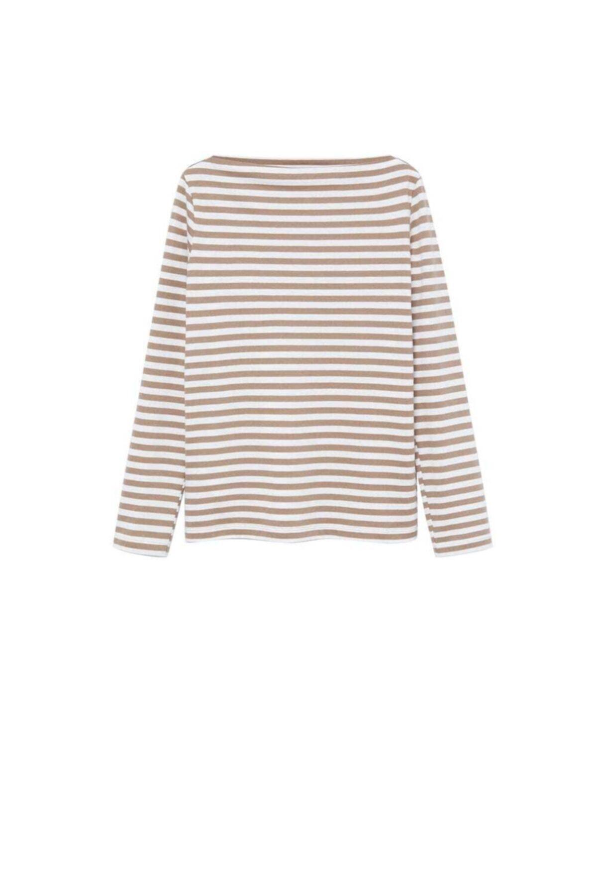 MANGO Woman Uzun Kollu Pamuklu Tişört 2