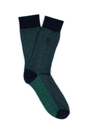 Mavi Logo Baskılı Yeşil Soket Çorap