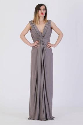 Günay Giyim Kadın Kahverengi Abiye Elbise Lprs4073