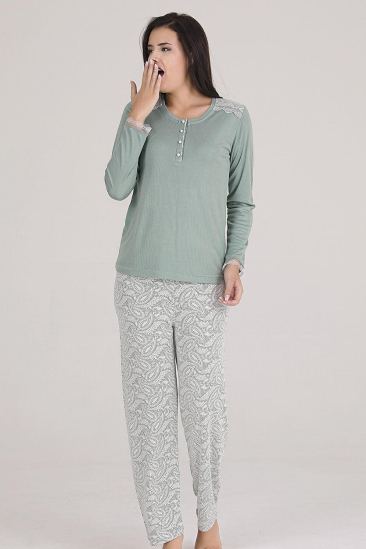 Sevil Giyim Kadın Yeşil  Örme Pijama Takımı 1